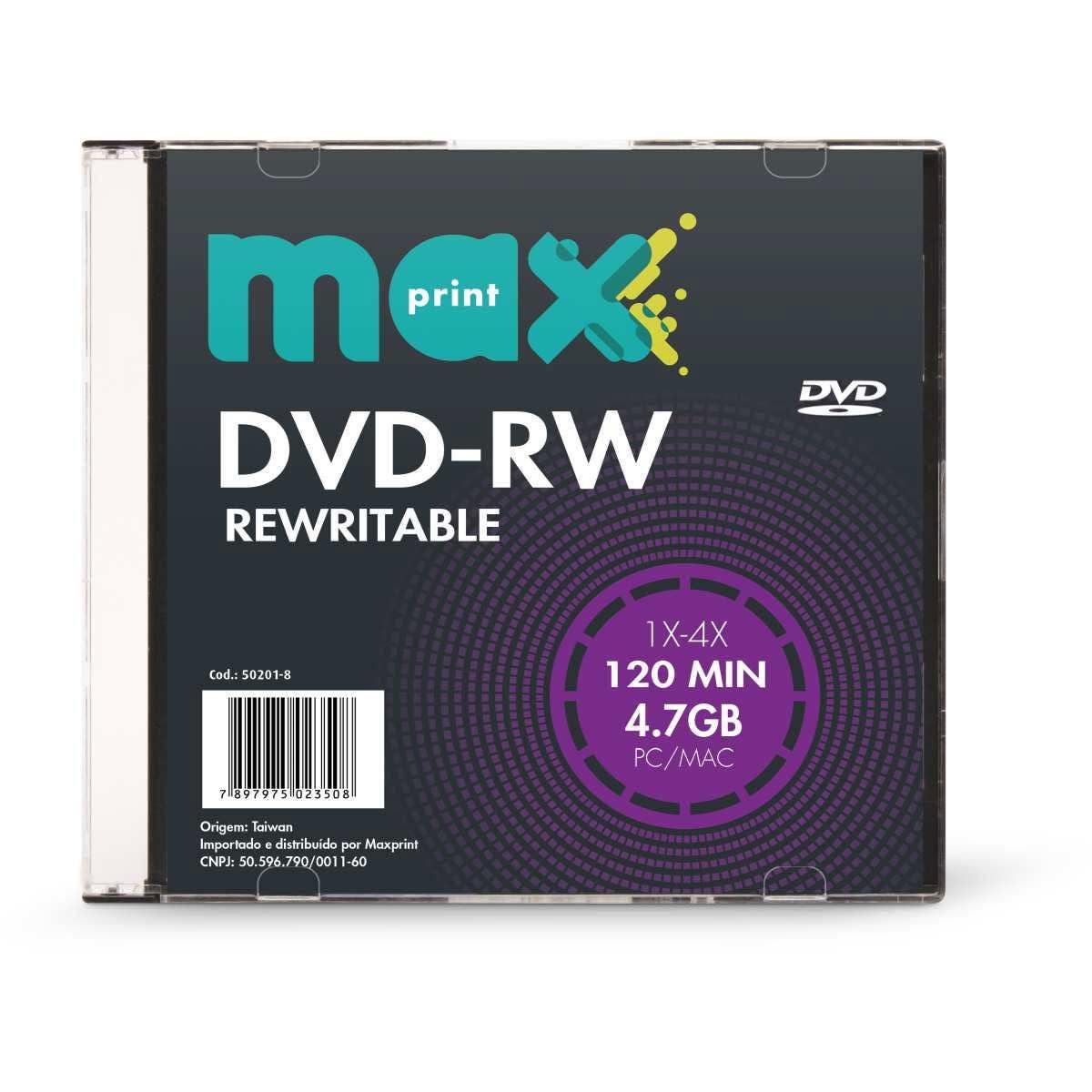 Dvd Regravavel | DVD-RW 4.7/120Min-4X slin | Maxprint