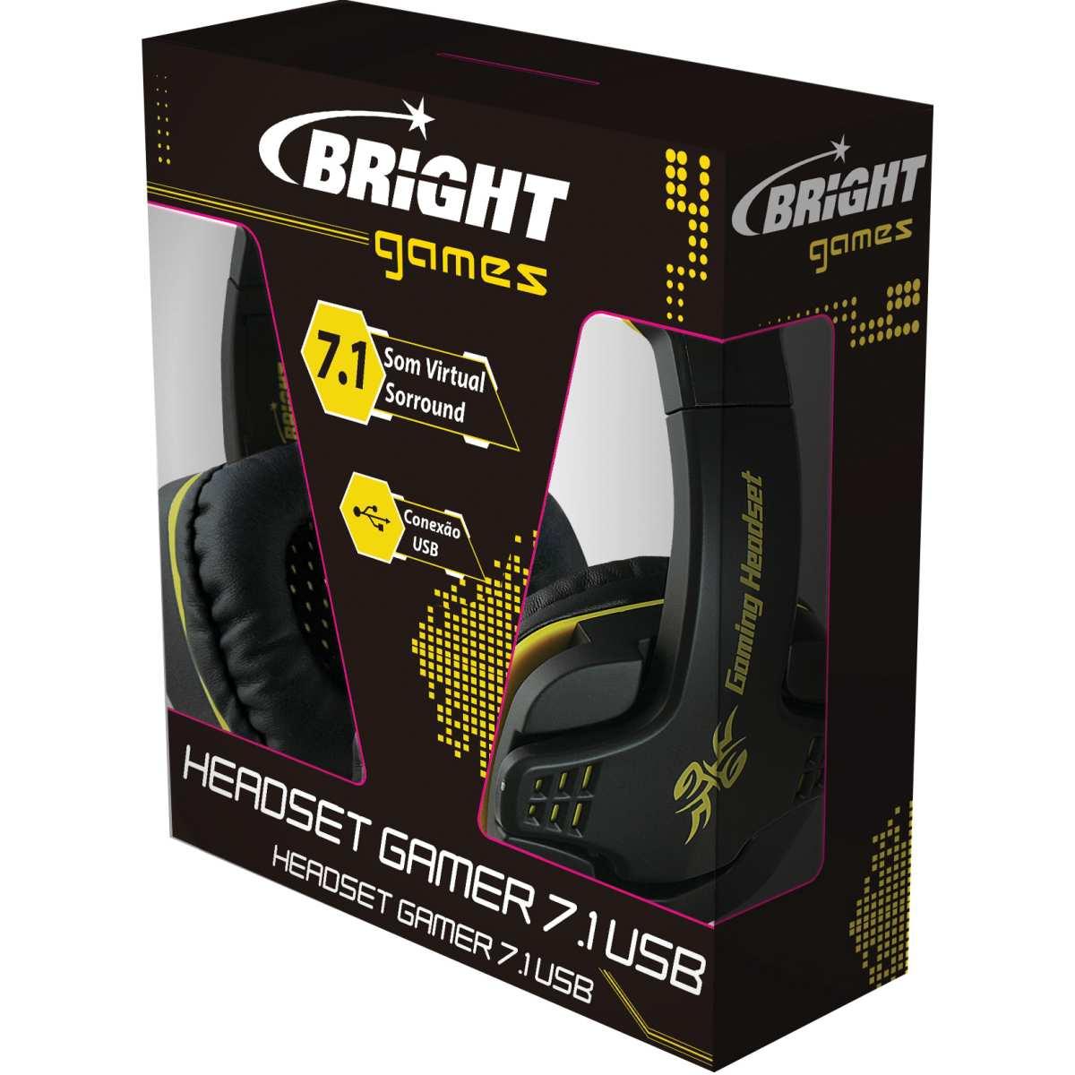 Fone de Ouvido - Headset Gamer USB 7.1 Preto - Bright
