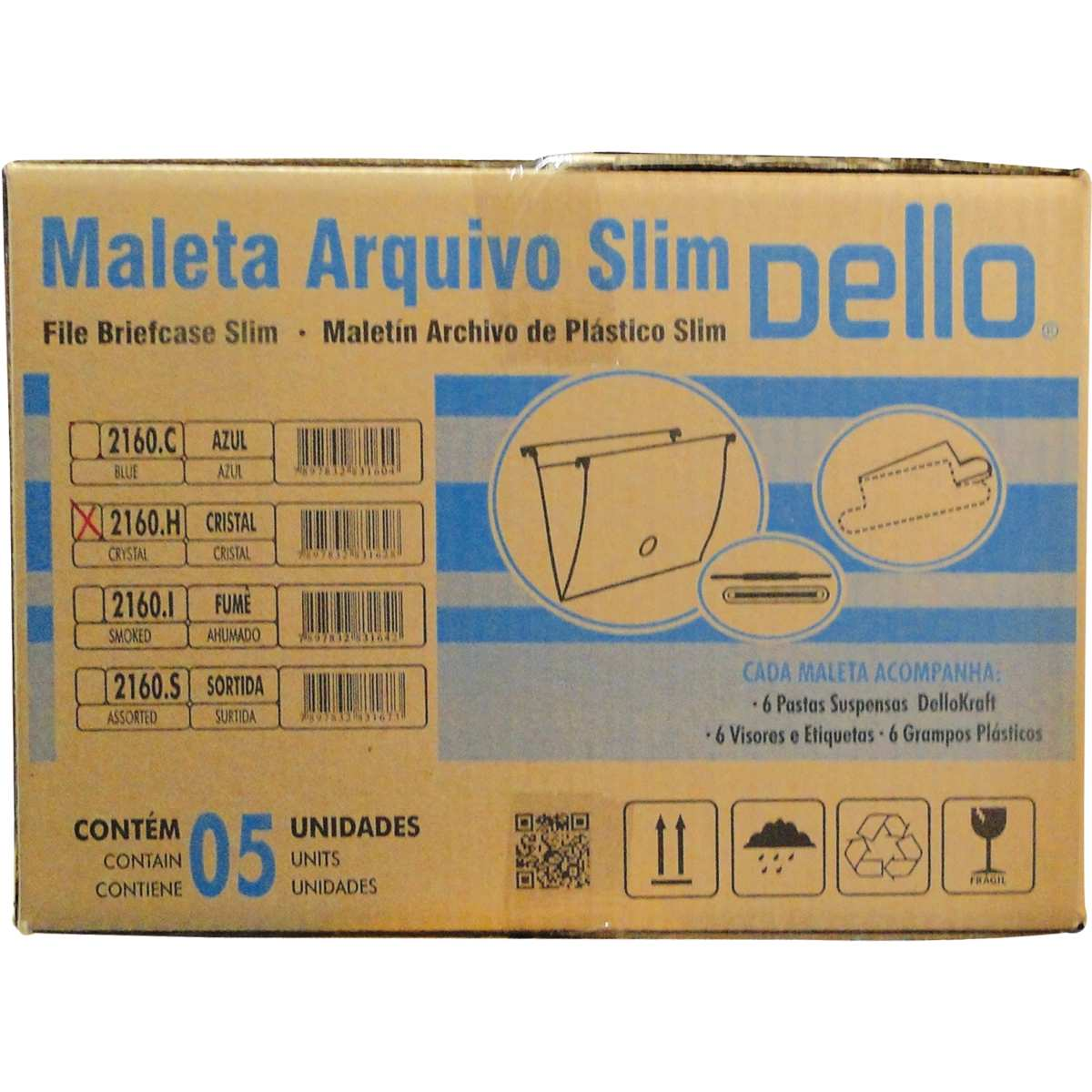 MALETA PLASTICA COM ALCA DELLOSMILE CRISTAL SLIM COM 06 PASTAS SUSPENSA