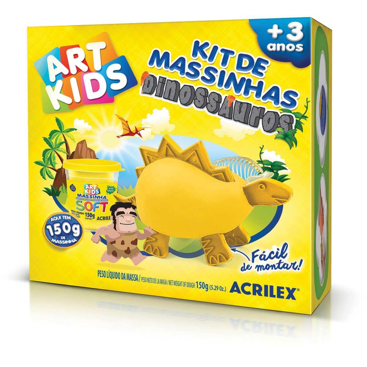 Massa p/Modelar   Criativa Art Kids Dinossauro 3 Amarelo - Acrilex