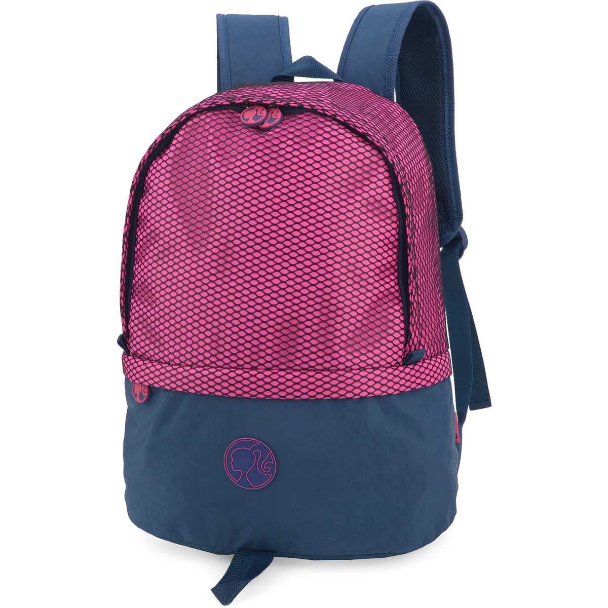 Mochila Escolar - Barbie GD 1Ziper Azul P/Note - Luxcel