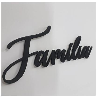 PALAVRA DECORATIVA FAMILIA EM MDF PRETO 6MM PARA DECORACAO