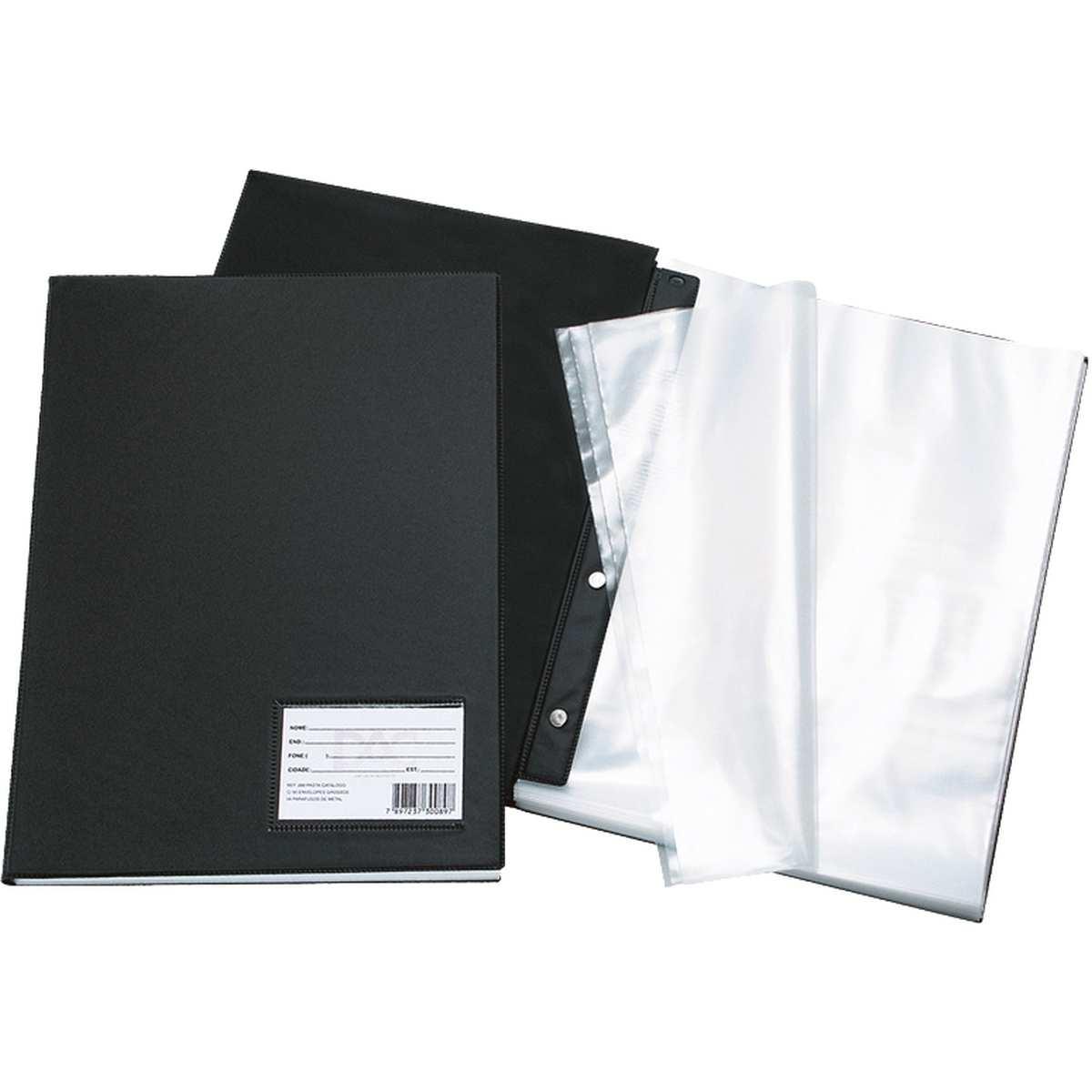 Pasta Catalogo - Oficio c/100 Envelopes Finos Preta - Dac