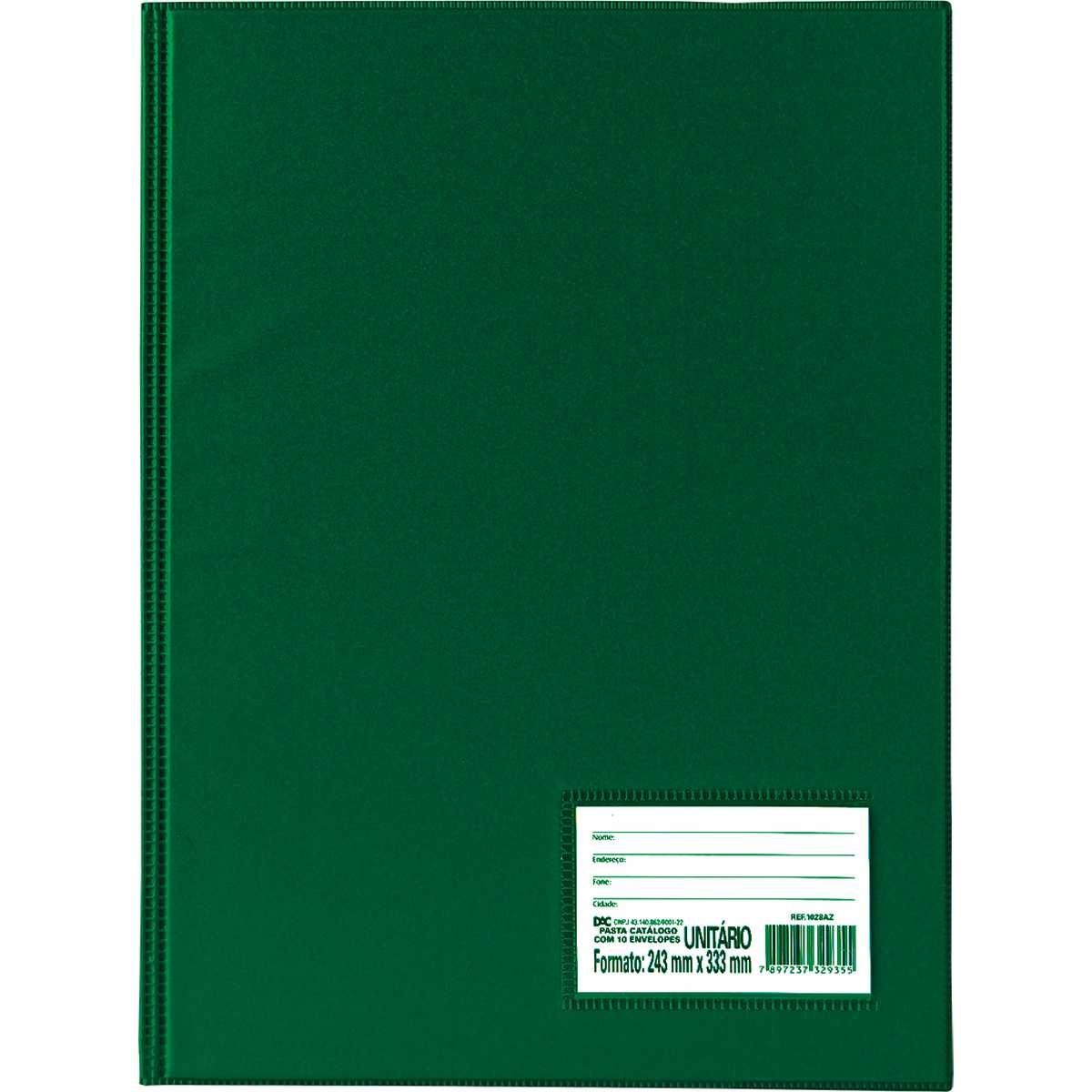 Pasta Catalogo - Oficio c/50 Envelopes Finos Verde - Dac