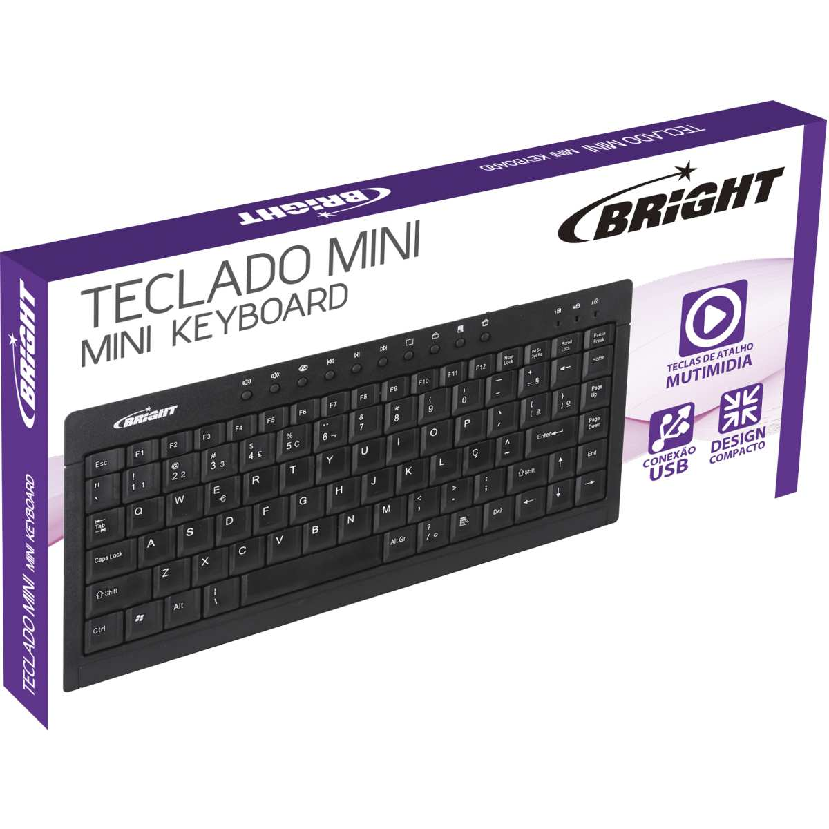 Teclado Mini USB | Preto 10 Botoes Multimidia - Bright