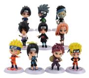 Kit 10 Action Figure Naruto Itachi Kakashi Zabuza Haku Gaara