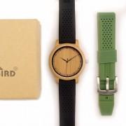 Relógio de Madeira Prunus Preto + Pulseira Verde - Bobo Bird
