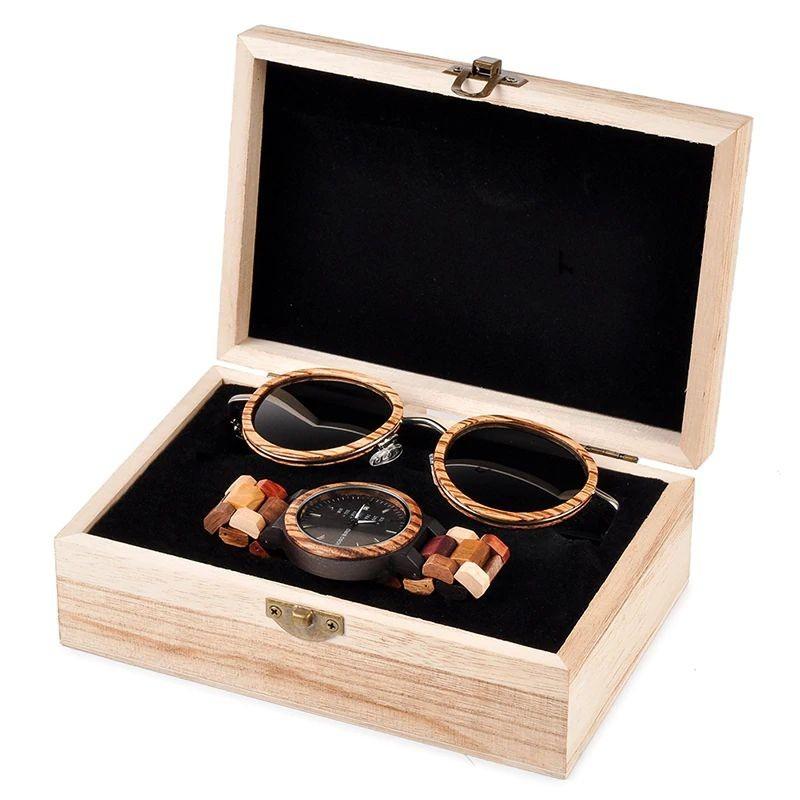 Box de Relógio e Óculos Calliandra Madagascar Feminino- Bobo Bird