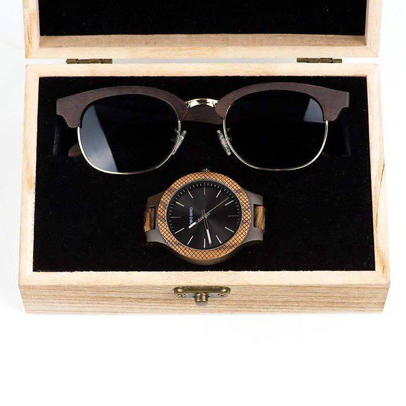 Box de Relógio e Óculos de Madeira Maui Gallesia - Bobo Bird