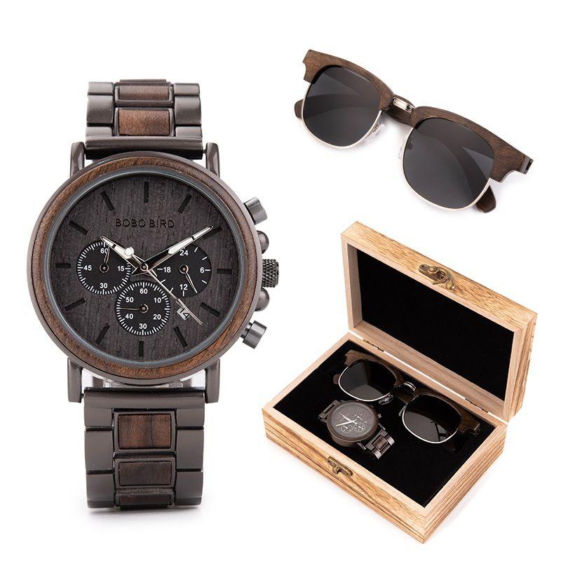 Box de Relógio e Óculos de Madeira Maui Ricynus - Bobo Bird