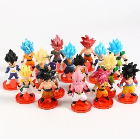 Kit 16 Action Figure Dragon Ball Z Super Goku Vegeta Broly