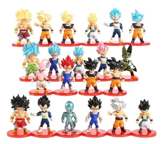 Kit 21 Action Figure Dragon Ball Z Super Goku Vegeta Cell
