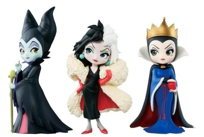 Kit 3 Action Figure Vilãs Disney Cruella Malévola Qposket