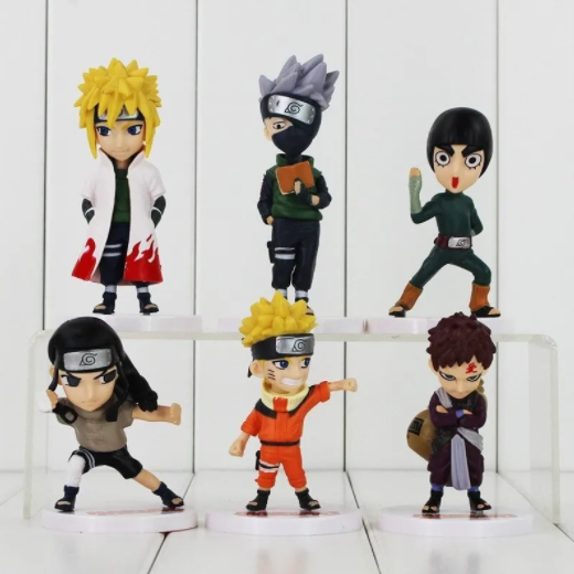 Kit 6 Action Figure Naruto Neji Kakashi Minato Lee Gaara