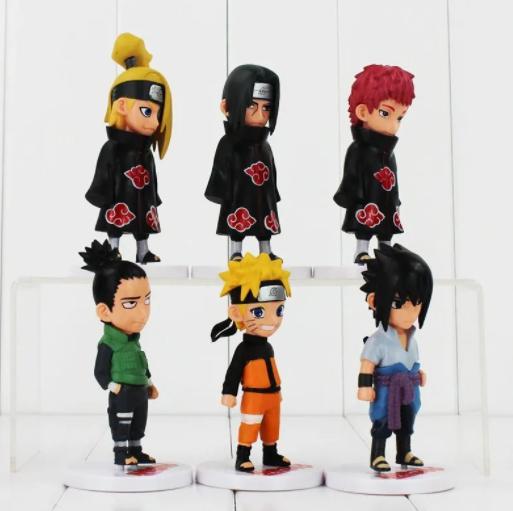 Kit 6 Action Figure Naruto Sasuke Itachi Deidara Nara Sasori