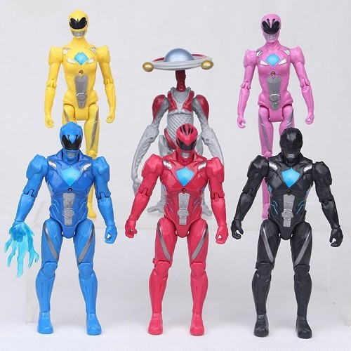 Kit 6 Action Figure Power Rangers Led Collectible Articulado
