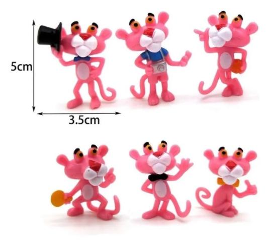 Kit 6 Bonecos Miniaturas Pantera Cor De Rosa Collectible