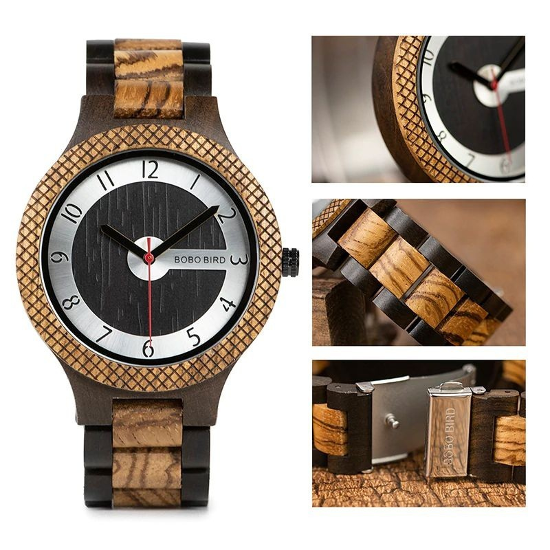Relógio de Madeira Aleurites - Bobo Bird