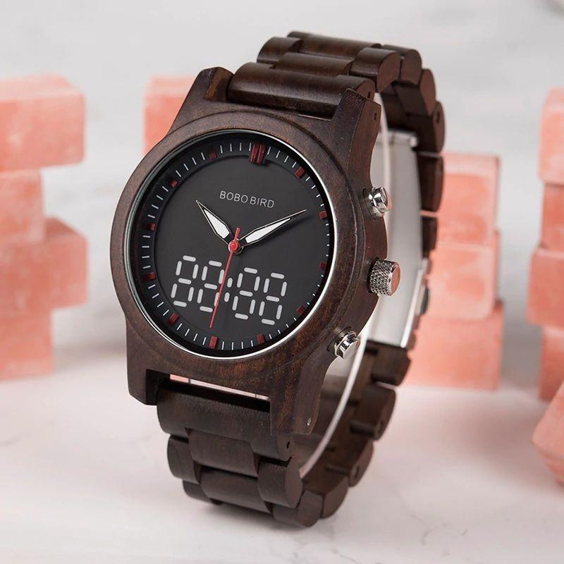 Relógio de Madeira Analógico e Digital Suinã - Bobo Bird