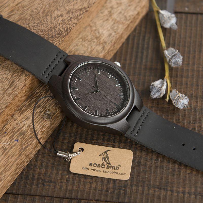 Relógio de Madeira Black Pure - Bobo Bird