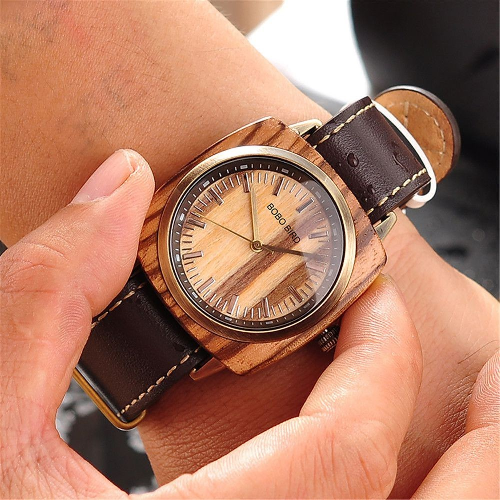 Relógio de Madeira e Aço Inox Couropita - Bobo Bird