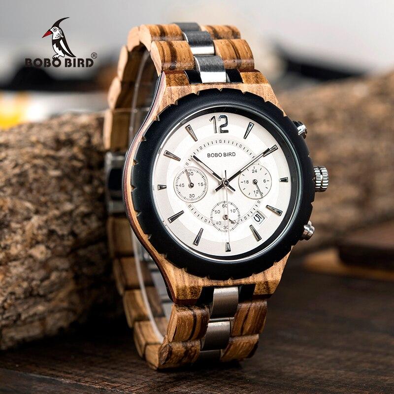 Relógio de Madeira e Aço Inox Celtis - Bobo Bird