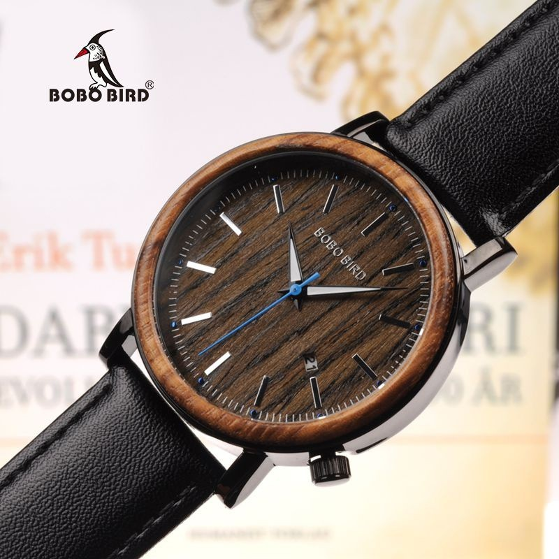 Relógio de Madeira e Aço Inox Malva - Bobo Bird