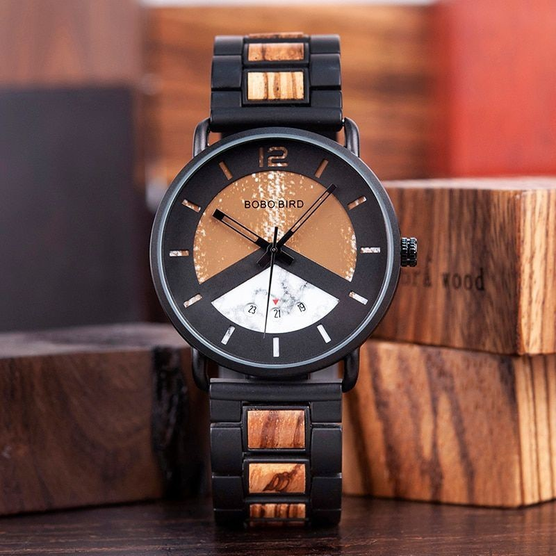Relógio de Madeira e Aço Inox Mosyera - Bobo Bird