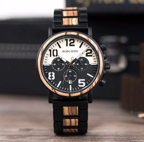 Relógio de Madeira e Aço Inox Oreopanax - Bobo Bird