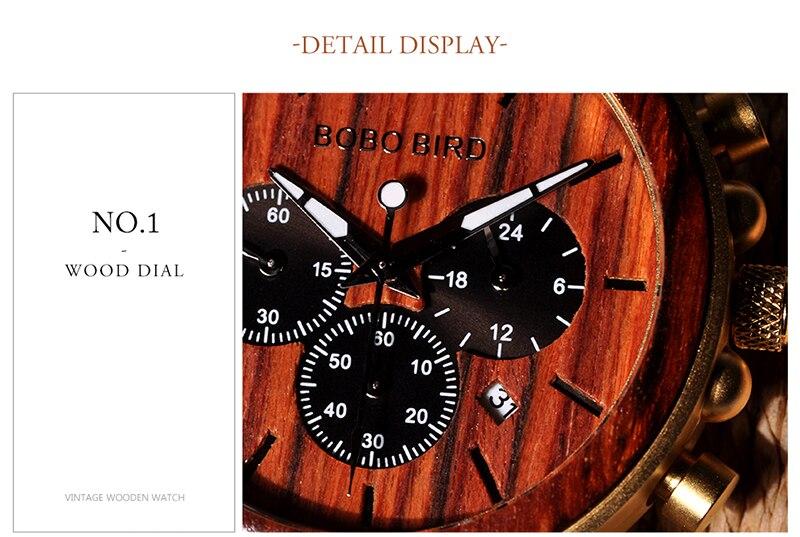 Relógio de Madeira e Aço Inox Ricynus - Bobo Bird