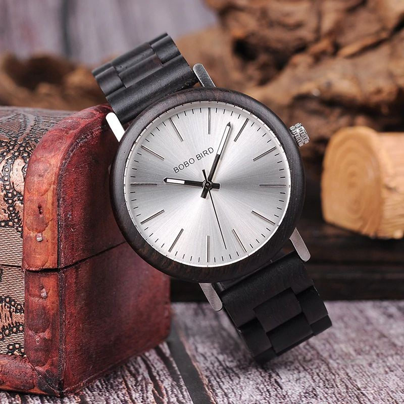 Relógio de Madeira e Aço Inox Sapotaceae - Bobo Bird