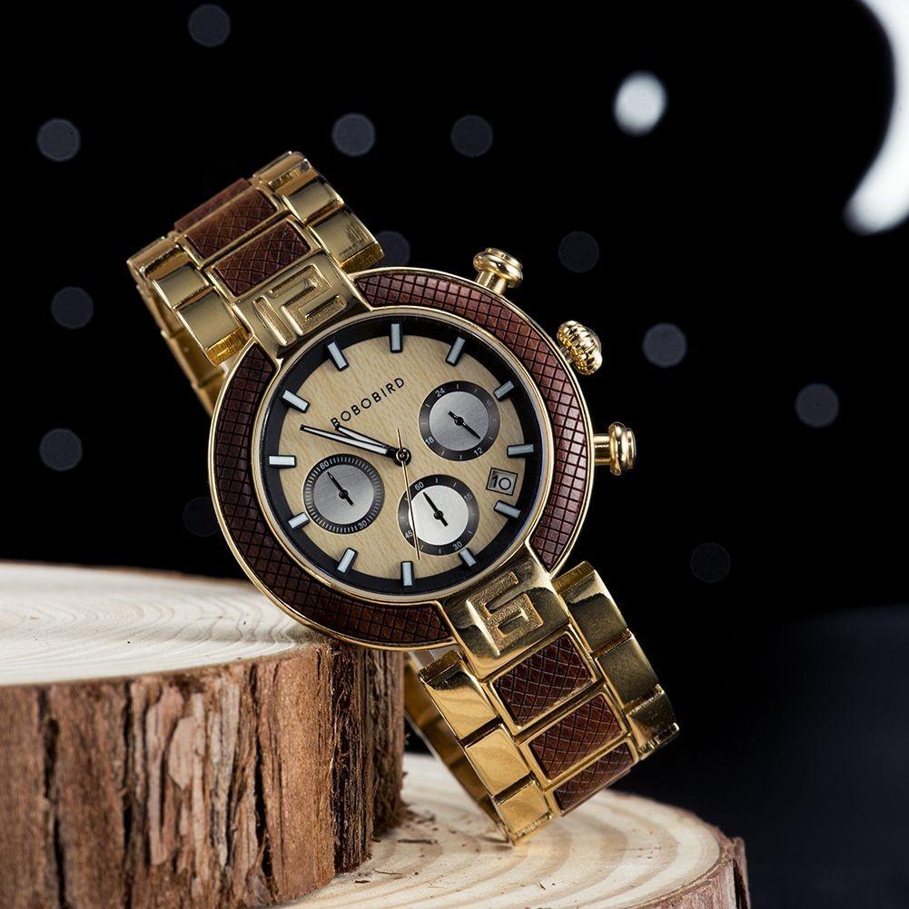 Relógio de Madeira e Aço Inox Solanales - Bobo Bird