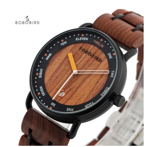 Relógio de Madeira e Aço Inox Terminalia - Bobo Bird
