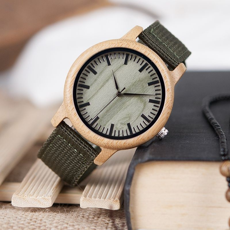 Relógio de Madeira Ginkgo Verde - Bobo Bird
