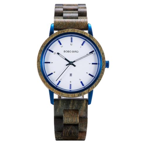 Relógio de Madeira e Aço Inox Mabea - Bobo Bird