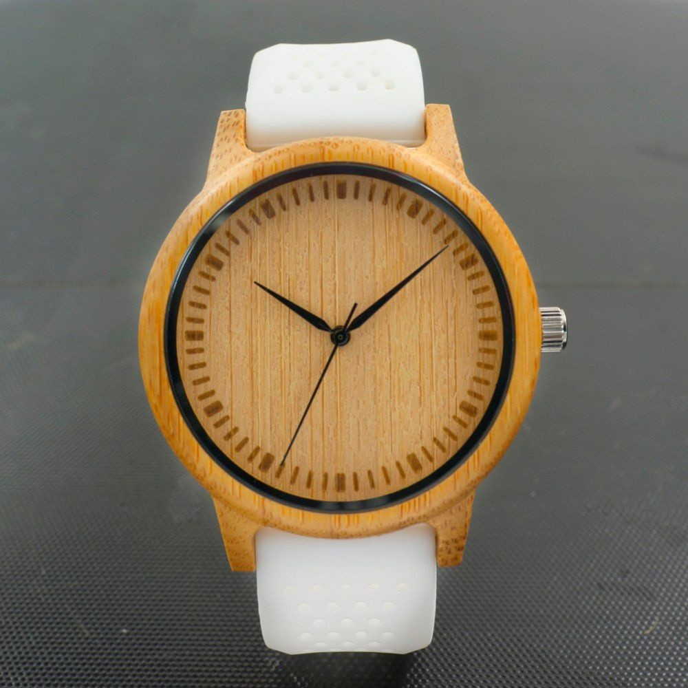 Relógio de Madeira Prunus Branco + Pulseira Extra - Bobo Bird