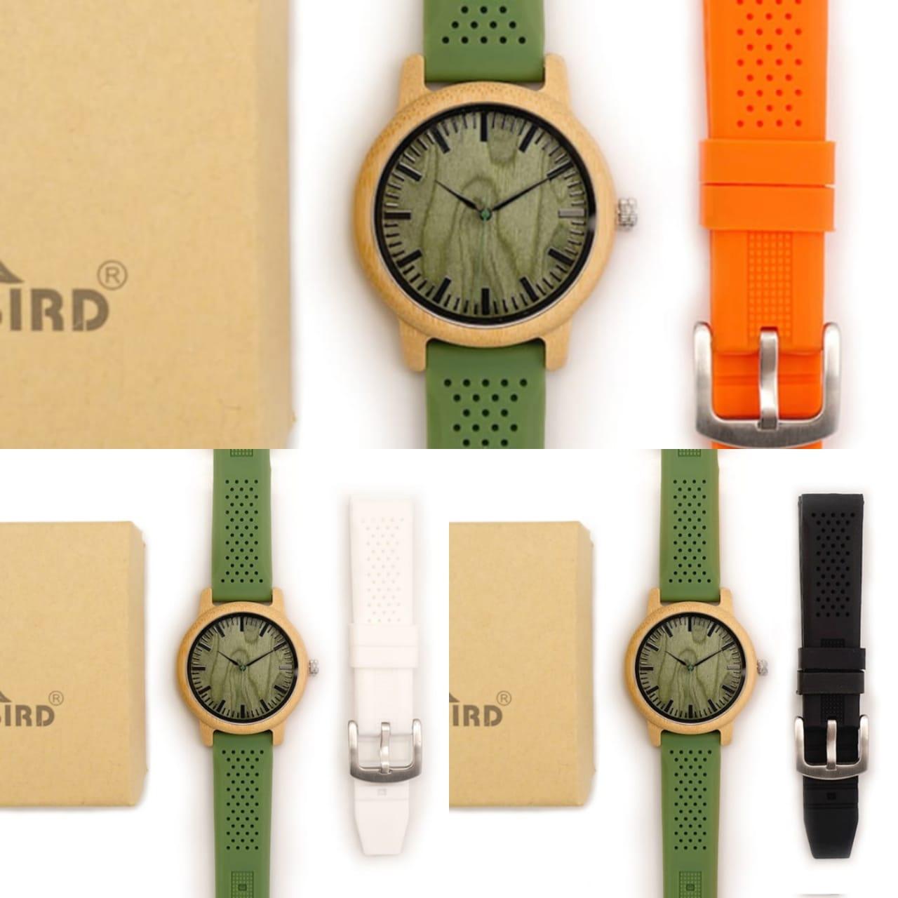 Relógio de Madeira Prunus Verde + Pulseira Extra - Bobo Bird