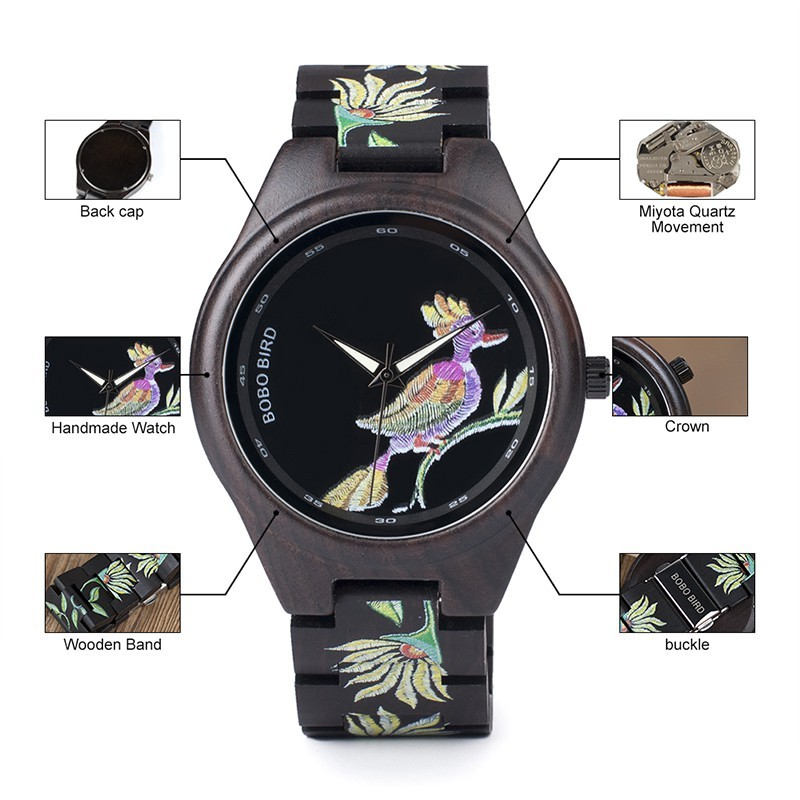 Relógio de Madeira Tabebuia - Bobo Bird