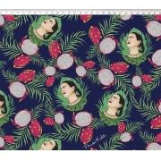 Tecido Tricoline Estampa Frida Kahlo - Fundo Florido Azul - 50cm x 1,50 cm