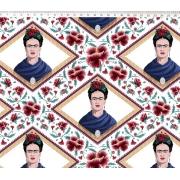 Tecido Tricoline Estampa Frida Kahlo - Fundo Florido Branco - 50cm x 1,50 cm