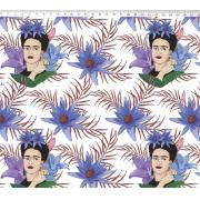 Tecido Tricoline Estampa Frida Kahlo - Fundo Florido Roxo - 50cm x 1,50 cm