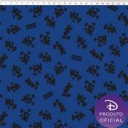 Tecido Tricoline Estampa Mickey Mouse - Fundo Azul - 50cm x 1,50 cm