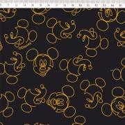 Tecido Tricoline Estampa Mickey Mouse - Fundo Preto com Dourado - 50cm x 1,50 cm