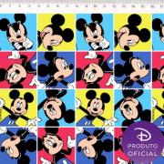Tecido Tricoline Estampa Mickey Mouse - Fundo Quadrados - 50cm x 1,50 cm