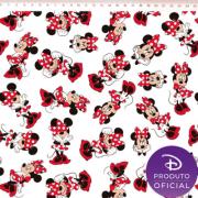 Tecido Tricoline Estampa Minnie Mouse - Fundo Branco- 50cm x 1,50 cm