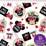 Tecido Tricoline Estampa Minnie Mouse - Fundo Branco  - 50cm x 1,50 cm