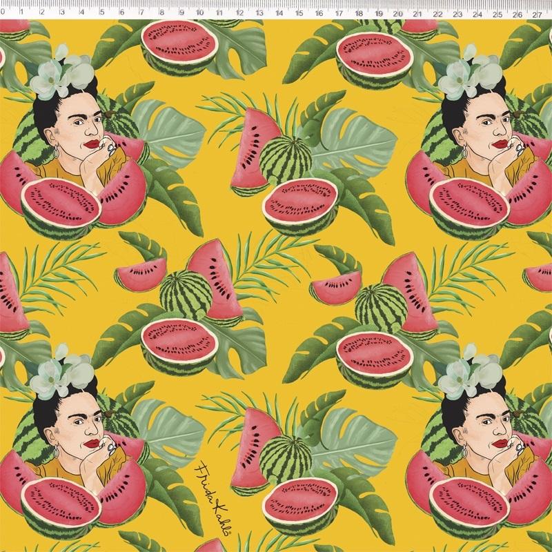 Tecido Tricoline Estampa Frida Kahlo - Fundo Amarelo - 50cm x 1,50 cm