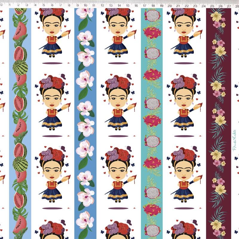 Tecido Tricoline Estampa Frida Kahlo - Fundo Boneca - 50cm x 1,50 cm