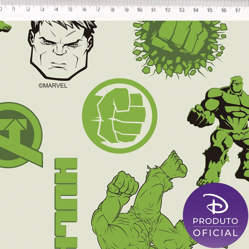 Tecido Tricoline Estampa Hulk - 50cm x 1,50 cm