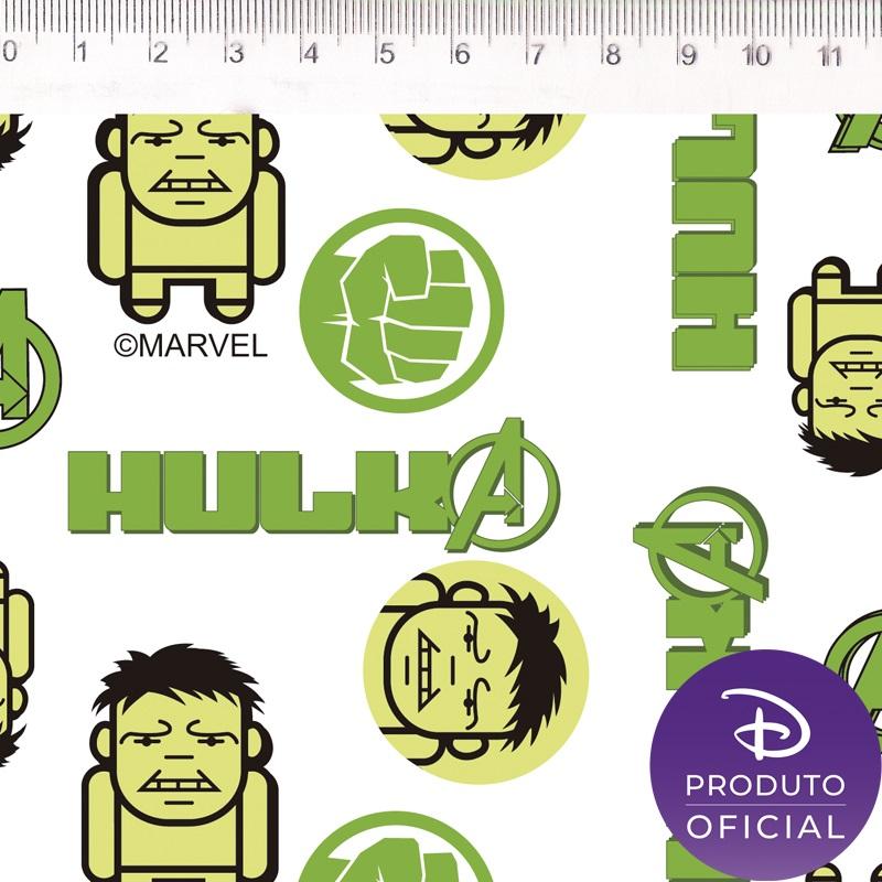 Tecido Tricoline Estampa Hulk - Fundo Boneco - 50cm x 1,50 cm